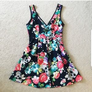 Iron fist Floral and skull dress w/ bow